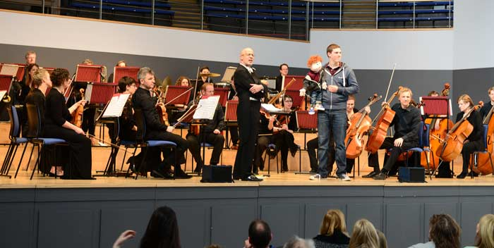 Ventriloquist James Rowney with Little Jim and Orchestra of the Swan at a Relaxed Concert at Town Hall Birmingham April 2016. Photo Credit Toks Dada
