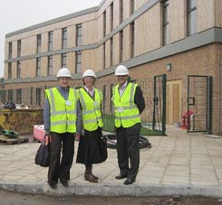 Two of our trustees with Simon Raine, the then-chairman of Birmingham YMCA, outside the new building in Erdington which the Trust helped to fund